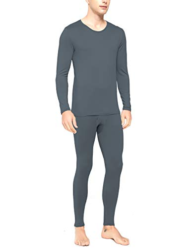 RIGPA Mens Thermal Underwear Set Ultra Soft Crew Neck Long John Base Layer Tops & Bottoms for Outdoor Sports