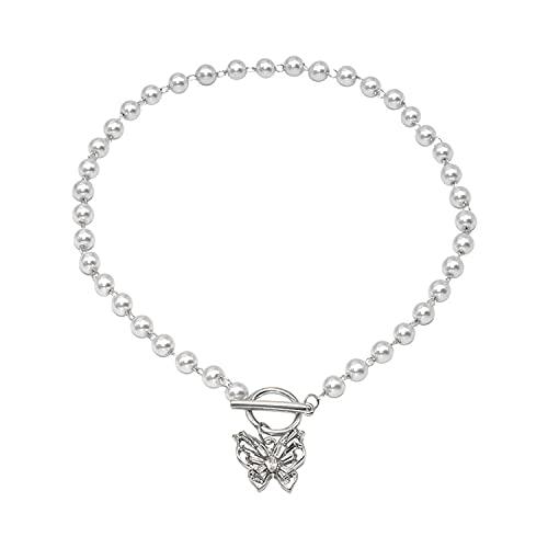 Cadena de clavícula de temperamento de mariposa de diamante de hadas para mujer, collar de moda, color blanco, 37 cm