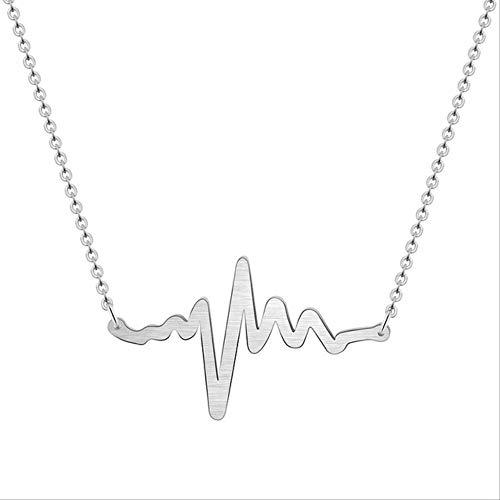 XIANGLIANDIAN Acero Inoxidable EKG Heartbeat Collar Enfermera Doctor Joyas Mujeres Clavícula Estetoscopio médico Heart Beat Wave Collares Pendientes Estados Unidos Color Plata