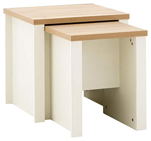 GFW The Furniture Warehouse Lancaster Nest of 2 Tables, Side Tables, Lamp Tables - Cream with Oak Tops