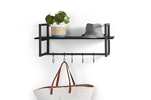 LIFA LIVING Schwarze Wandgarderobe aus Metall, Vintage Garderobenleiste für die Wand mit Ablage und 5 Haken, Garderobe, 28 x 70 x 29 cm