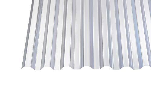 PVC Wellplatten Profilplatten Trapez 70/18 klar ohne Struktur 0,8 mm (3000 x 1090 mm) für Dacheindeckungen, Kleingewächshäuser, Unterstände, Schutzdächer