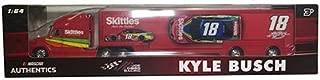 NASCAR Kyle Busch #18 Skittles Racing Hauler Tractor Trailer Semi Transporter Truck Rig 1/64 Scale Authentics Metal Cab, Plastic Trailer