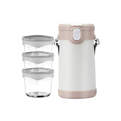 NXYJD Fiambrera, Recipiente térmico de Acero Inoxidable apilable, Envases a Prueba de Fugas for Adultos y Escuela, Oficina (Color : White)