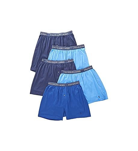 Polo Ralph Lauren Herren-Boxershorts, klassische Passform mit Feuchtigkeitstransport, 5er-Pack - Blau - Small