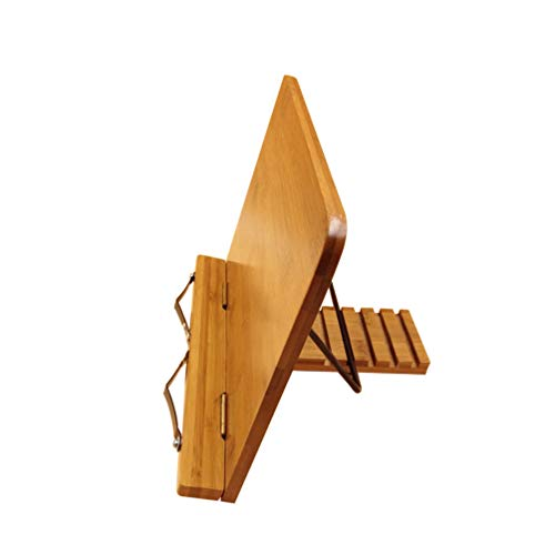 Doitoo Suporte de livros de bambu multiuso, portátil, ajustável, dobrável, para leitura, suporte de livros com bandeja e clipes de papel para página, 28 x 20 cm