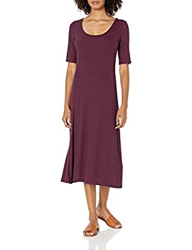 Amazon Brand - Daily Ritual Women s Rayon Spandex Fine Rib A-Line Scoop Neck Dress with Vent Fig X-Small