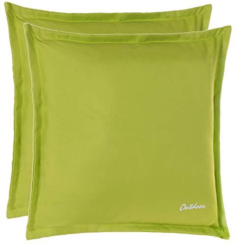 Brandsseller Outdoor Kissen Dekokissen - Schmutz- und Wasserabweisend mit Reißverschluss 2 cm Steg - 350 gr. Füllung - Größe: 48 x 48 cm - Farbe: Grasgrün - 2er Vorteilspack