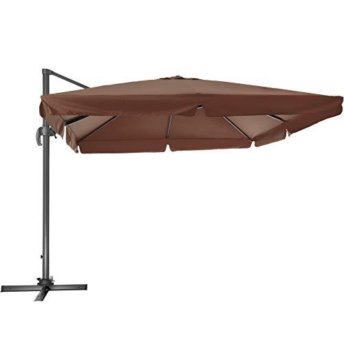 TecTake 800661 - Parasol Excéntrico, Sombrilla de Jardín, Aluminio, Protección Solar UV 50+, 3x3 m (Marrón | No.402993)