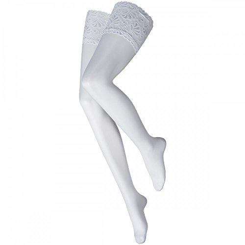 levée ® Luxus Halterlose Damen Feinstrümpfe mit echter Spitze 20DEN 1er, Größe:40/42, Farbe:Weiß