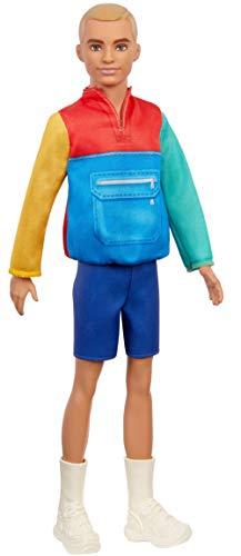 Barbie Ken Fashionista Muñeco rubio con chaqueta y shorts, moda color block...