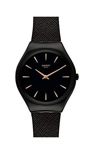Swatch Unisex– Erwachsene Analog Schweizer Quarz Uhr mit Echtes Leder Armband SYXB101