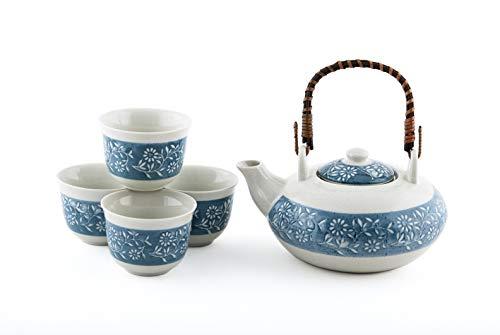 Japanese Chrysanthemum Flower Kiku Tea Set Ceramic Teapot with Rattan Handle and 4 Tea Cups (White)