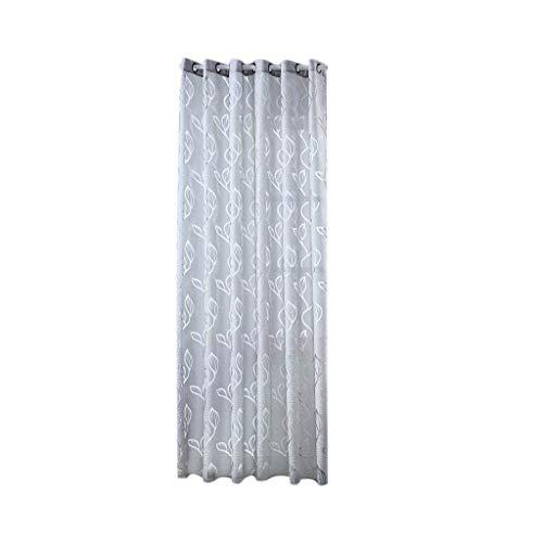 Xmiral Türvorhang Gardine Ösen Halbtransparent Einfarbig Einfach Thermovorhang 200cm x 100cm(B Grau)