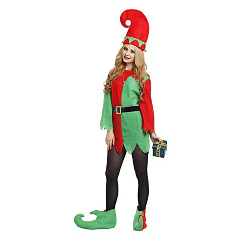 Lingqiqi Disfraz de Santa Claus Disfraz de Santa ayudante Elfo Adulto Disfraz Adulto. Traje de Fiesta de Navidad