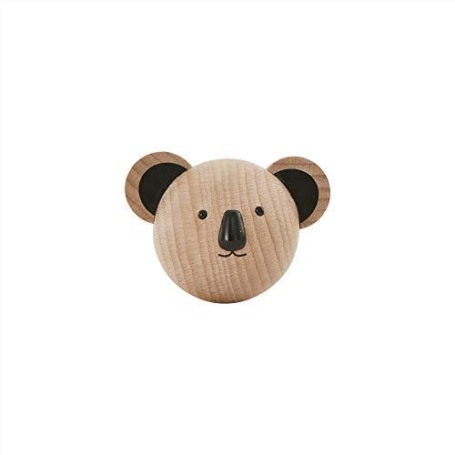 Mini perchero infantil Koala de madera – Gancho de pared para la habitación del bebé/habitación de los niños – 7,5 x 6,5 x 5 cm