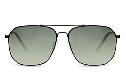 Cheapass Gafas de sol Sunglasses Aviador Aviation Cool Male Retro Black Metal Shape con lentes degradados oscuros UV400 para hombre protegido