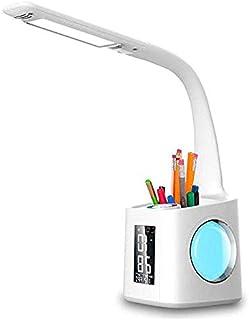 چراغ رومیزی LED ، لامپ رومیزی با دماسنج ، نگهدارنده مداد ، چراغ شب ، ساعت زنگ دار ، تقویم ، 3 سطح لامپ میز مراقبت از چشم دیمر
