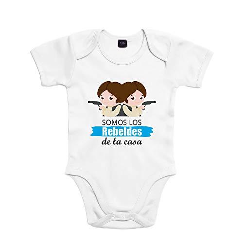 SUPERMOLON Body bebé algodón Gemelos Somos los rebeldes de la casa 3 meses Blanco Manga corta