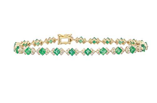 Gin & Grace 18 quilates de oro amarillo natural Esmeralda Diamante (SI1) pulsera para la Mujer