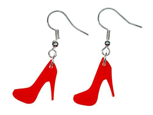 Miniblings bombea los zapatos suspension de los pendientes de tacon mujer rojo de moda acrílico cristal - joyería de moda hecha a mano plateado plata Pendientes I