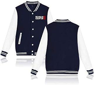 Europe and America antumn&winter red dead redemption 2 baseball uniform men&women cotton plus velvet t-shirt blue M