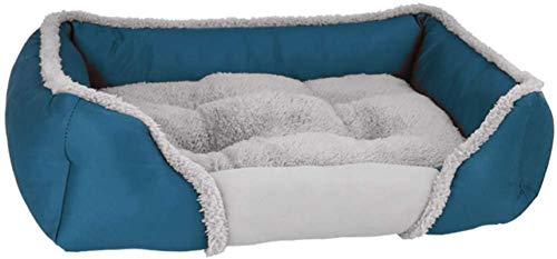 Perro cama Cama para perros de mascotas Suave Mantener suave Sofá lavable Sofá lavable con fondo a prueba de agua y a prueba de humedad para perros grandes y pequeños, cuatro temporadas, azul oscuro,