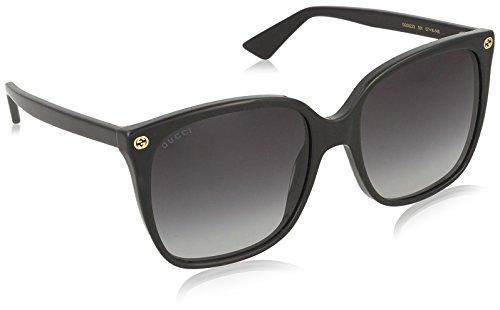 Gucci GG0022S 001 Occhiali da sole, Nero (Black/Grey), 57 Donna