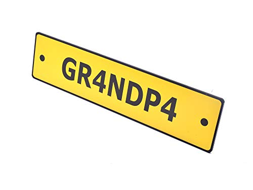 OriginDesigned Grandpa Novelty Scooter License Plate Sign Yellow Acrylic - Perfect