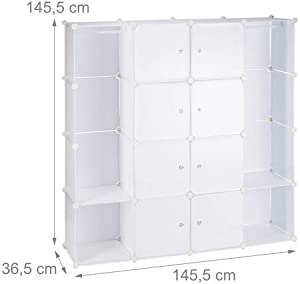 Relaxdays Wardrobe 12 Compartments Plastic Wardrobe 145.5 x 145.5 cm 3 Colours
