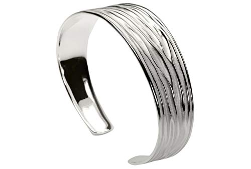 SILBERMOOS Damen Armreif Armspange offen Wellen-Muster matt glänzend 925 Sterling Silber