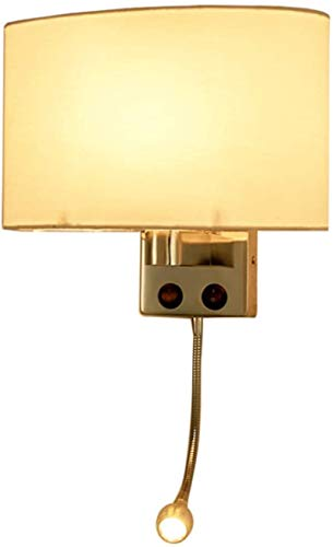 Apliques de Pared de estilo industrial, Luz de pared Moderno cromado de cromo oblato de tela blanca con led ajustable LED Luz de lectura Dos botones Control Lámpara de pared interior Decoración del ho