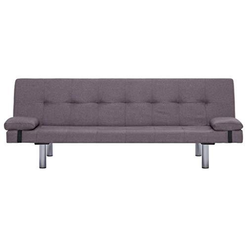 Lechnical Sofá Cama Gris-marrón Revestido de poliéster, sofá Cama Familiar Estilo Moderno 168 x 77 x 66 cm (Largo x Ancho x Alto) -3 ángulos Ajustables Trae 2 Almohadas
