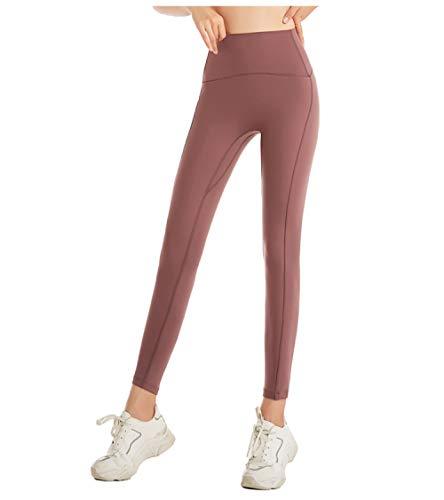 BLACK ELL Leggings para Running Training,Pantalones de Yoga elásticos Nude, Leggings de Cintura Alta de Secado rápido-Rosa 1_L