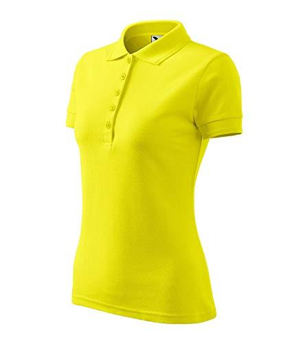 Adler Poloshirt Shirt Polohemd für Damen Pique Polo Größe und Farbe wählbar - (XL, zitronengelb)