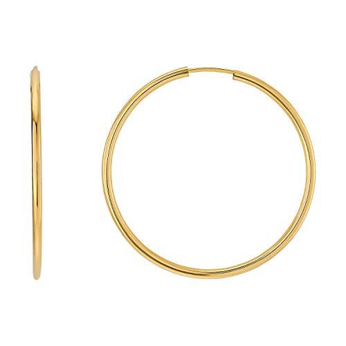 Creolen Paar Silber Vergoldet Breite 2,00mm Gold Gelbgold Silber groß klein Polierte Runde Kreis Creole 15mm 20mm 30mm 40mm 50mm (Ø 40.00mm)