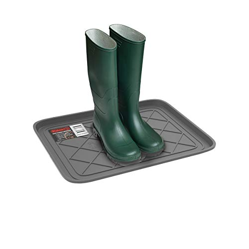 Stalwart 75-ST6105 Weather Boot Tray-Small Water Resistant Plastic Utility Shoe Mat for Indoor and Outdoor Use in All Seasons (Grey), 19.8 x 15.5 x 1 inches, Light Gray