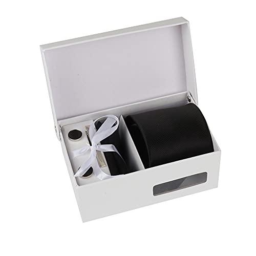Burnell & Son Herren Set mit Krawatte Manschettenknöpfe Einstecktuch und Krawattennadel in Geschenk Box Schwarz