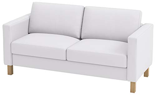 Heavy Cotton Karlstad 2 Seater Loveseat Sofa Cover (Sofa Width: 162CM) Replacement is Compatible for IKEA Karlstad Slipcover (Cotton White)