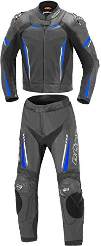 Büse Imola - Mono de dos piezas de piel para moto, color negro y azul