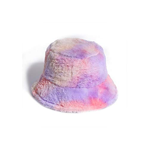 New Outdoor Warm Lamb Faux Fur Bucket Hat Black Solid Fluffy Fishing Cap Fisherman Women Winter-Lavender