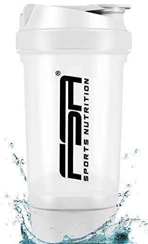 Proteína Shaker de 500 ml, con compartimento para los polvos de 100 ml, con tamiz, Botella Mezcladora, a prueba de fugas, BPA libre, FSA Nutrition - Blanco