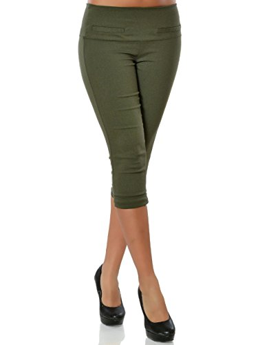 Damen High-Waist Capri-Hose Sommerhose Kurze-Hose No 15846, Farbe:Khaki, Größe:S / 36