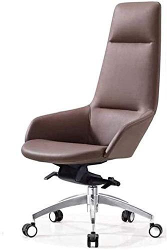 VIVOCC Executive Swivel Bürostuhl Einfacher High-Back-Manager-Stuhl, stilvoller Executive Chair, multifunktionaler ergonomischer Büro-Chefstuhl, PU-Leder Bürostühle Schreibtischstühle (Größe : Braun)