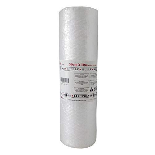 Zs Products - Rollo de plástico de burbujas (Ancho 0,50 metros x Largo 10 metros) para envolver, protección de objetos frágiles, embalaje, transporte y mudanzas. Papel de burbujas de calidad europea.