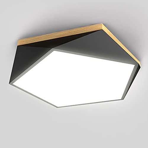Plafón LED, Plafón LED De Forma Irregular, 3000-6000K, Moderno Y Ultrafino, Dormitorio, Sala De Estar, Cocina, Balcón, Pasillo, Oficina (diámetro 40 * Altura 8cm) (Color : Black)