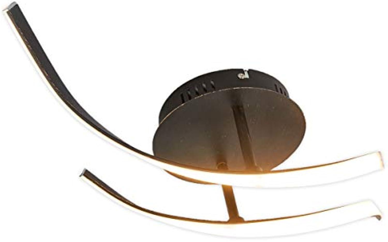 Lampenwelt LED Deckenleuchte 'Milane' dimmbar (Modern) in Braun aus Metall u.a. für Wohnzimmer & Esszimmer (A+, inkl. Leuchtmittel) - Lampe, LED-Deckenlampe, Deckenlampe, Wohnzimmerlampe