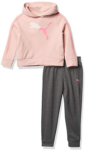 PUMA Baby Girls' Pullover Hoodie & Jogger, Pink, 0-3M
