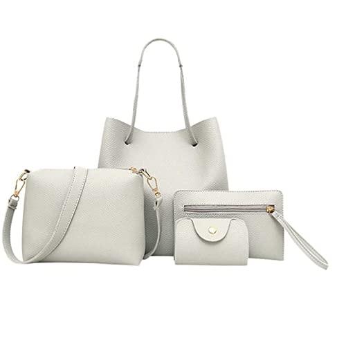 Conjunto de bolsos de cuero de patrón de las mujeres, bolso de mensajera+bolso de mensajería+paquete de tarjeta