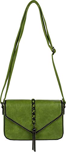 styleBREAKER dames schoudertas in enveloppenontwerp met bolletjes, ketting en kwastje, schoudertas, handtas, tas 02012274, Farbe:Groen
